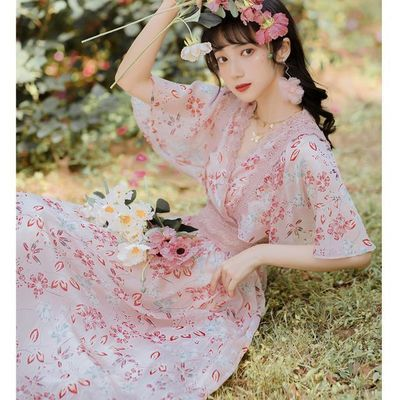 【广州正品】法式初恋女装特色夏季碎花超仙雪纺连衣裙森系长裙