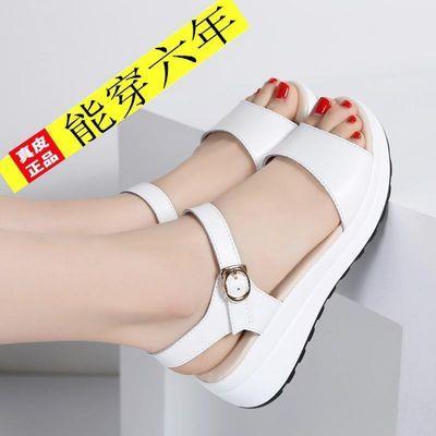 真皮凉鞋女学生夏季新款韩版坡跟厚底平底中跟平底女士外穿凉拖鞋