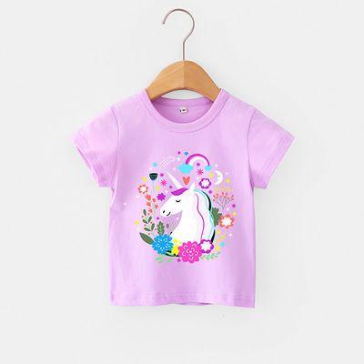 女童T恤短袖女宝宝半袖体恤衫新款粉色女孩打底衫夏季童装上衣韩