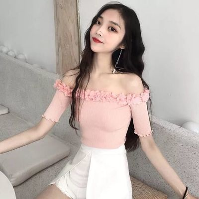 花朵一字肩网红同款上衣直播衣服女主播服装上镜性感甜美T恤修身
