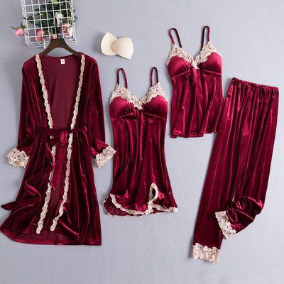 睡衣女秋冬长袖金丝绒四件套性感吊带睡裙带胸垫睡袍保暖三件套厚
