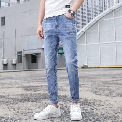 夏季牛仔裤男潮牌修身小脚裤浅蓝色潮流韩版弹力男士休闲裤子薄款