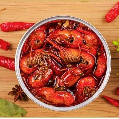 【热销】麻辣小龙虾尾熟食即食罐装香辣海鲜鲜活虾球盒装网红零食