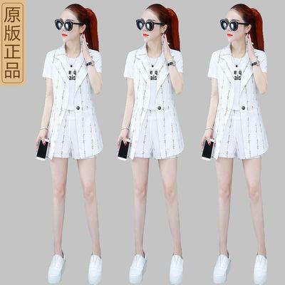 2020夏季新款时尚韩版短袖t恤小西装马甲外套短裤套装女三件套潮