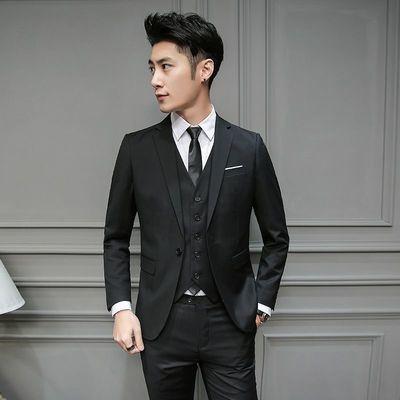 西装套装男韩版帅气学生西服修身休闲商务青少年英伦外套职业正装