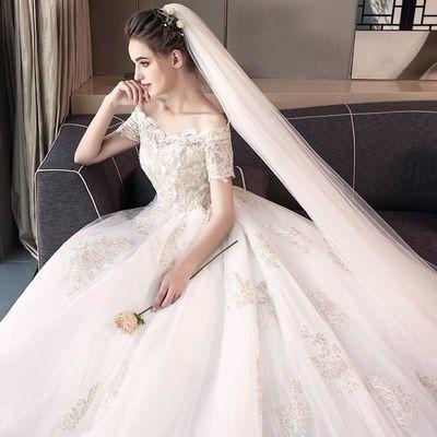 婚纱礼服新娘2020新款梦幻公主长拖尾显瘦一字肩欧美白色宫廷大码