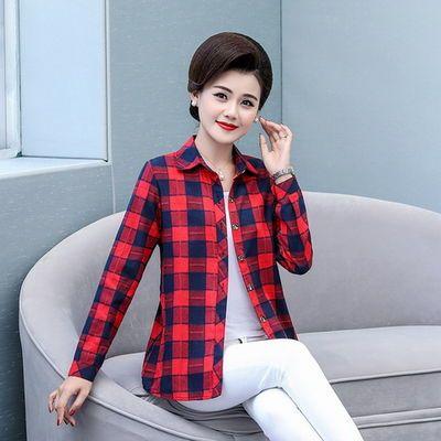 2020新款精品中老年纯棉衬衫女妈妈装春秋长袖外套中年全棉打底衫