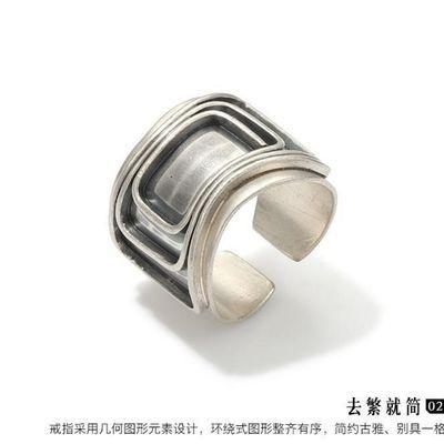 925银男士宽戒指个性复古潮流食指环简约开口银扳指面具戒指男