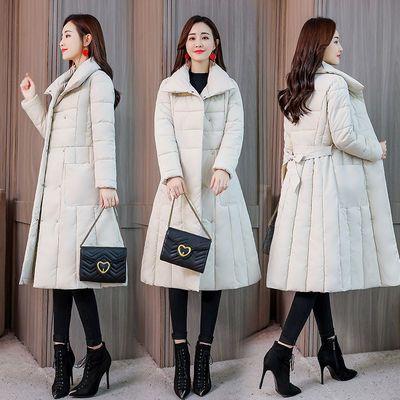 【杭州精品】棉服女中长款韩版冬装修身收腰棉衣加厚过膝棉袄外套