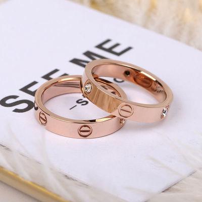 不锈钢戒指简约学生百搭时尚日韩钛钢女戒指环玫瑰金情侣对戒食指