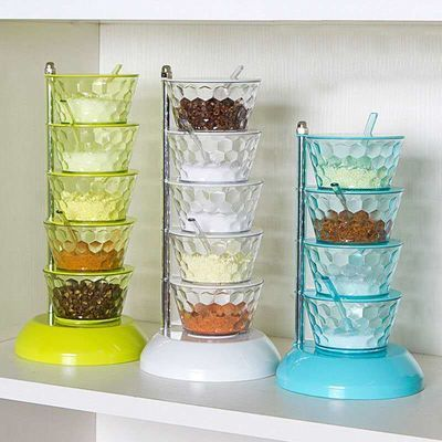 【抖音同款】立式水晶调料盒简约用家旋转式厨房调味罐收纳盒多层