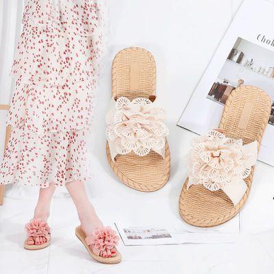 夏季新款凉拖鞋女外穿平底花朵拖鞋一字拖时尚学生网红潮女拖鞋