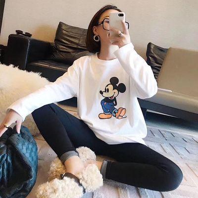 2019新款韩版chic春秋上衣慵懒风宽松学生嘻哈怪味少女长袖T恤潮