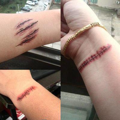 一套8张不同图】仿真伤疤纹身贴防水持久恐怖化妆男女万圣节贴纸