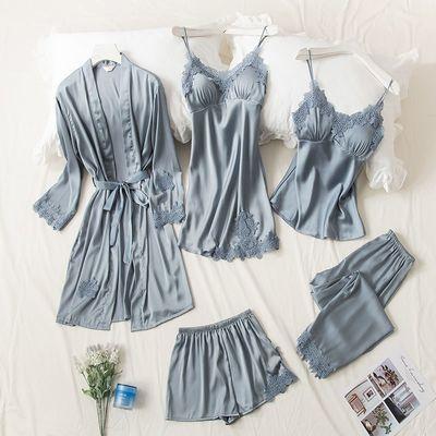 睡衣女夏季性感短袖短裤五件套装清新冰丝薄款春秋韩版家居服丝绸