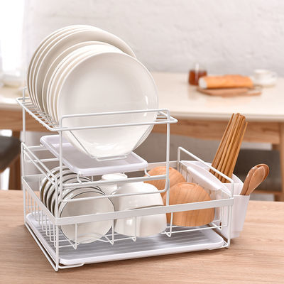 北欧沥水架双层晾放勺筷子碗碟碗盘置物架厨房收纳盒储物架碗碟架