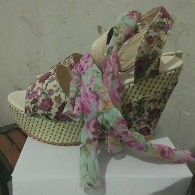 【反季清仓】新款夏季韩版坡跟女凉鞋印花蝴蝶结凉鞋高跟女凉鞋子