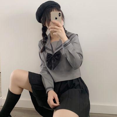 正统原创基础款JK制服裙黑灰二本水手服日系长袖短袖学生套装JKS
