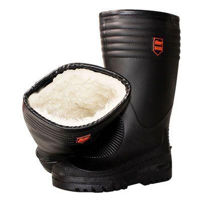 雨靴男冬季雨鞋加绒保暖中高筒防滑棉加厚胶鞋防水劳保水鞋水鞋