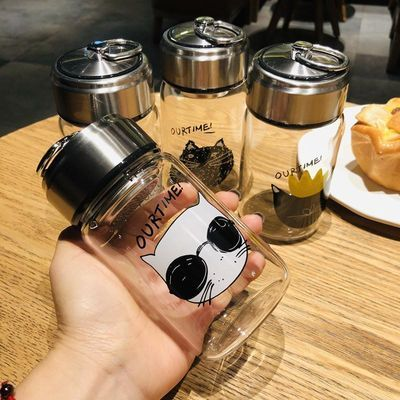 猫咪玻璃杯子男女便携可爱网红ins风创意韩版学生水瓶泡茶杯随手