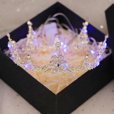 女生成年礼生日皇冠18成人礼女网红头饰十八岁礼物发光王冠饰品