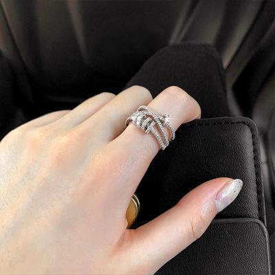 开口可调节小众戒指女潮ins网红时尚个性转运日系轻奢食指戒手