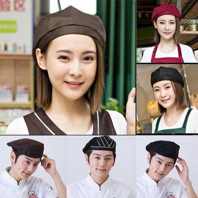 服务员贝雷帽男酒店餐饮火锅店西餐厅厨师工作帽女鸭舌帽厨师帽子