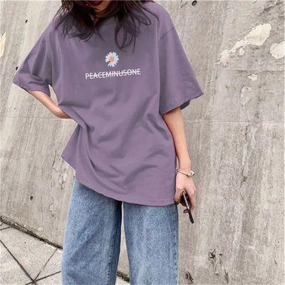 小雏菊紫色短袖t恤女夏季2020新款韩版潮宽松含棉半袖上衣服ins潮