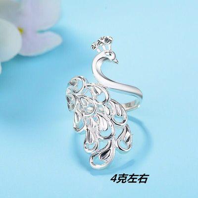 99纯银戒指 女款可爱孔雀指环开口活扣时尚韩版银饰品食指对戒