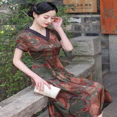 改良低领旗袍夏中长连衣裙香云纱大码宽松休闲中老年妈妈装显年轻