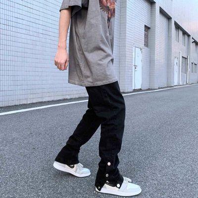 高街风格浅蓝色牛仔裤男宽松潮牌裤子侧开叉排扣长裤纽扣裤子百搭