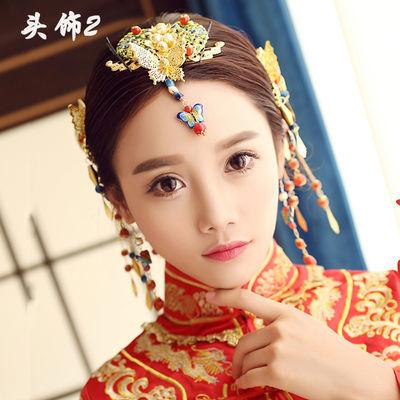新娘古装头饰凤冠秀禾和服旗袍配饰中式民族流梳饰品结婚礼服发饰