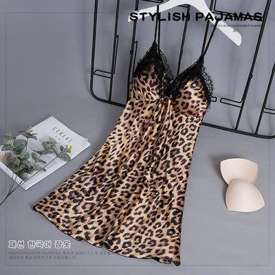 豹纹诱惑性感吊带裙女夏季冰丝睡裙带胸垫睡衣聚拢蕾丝短裙加大码