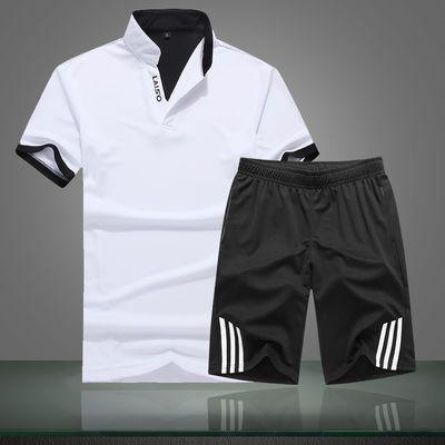 2020新款精品上衣+裤子-2020新款情侣运动休闲套装男士夏季短袖套