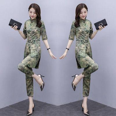 2020新款精品夏装新款女休闲时尚缎面印花套装洋气显瘦两件套潮九
