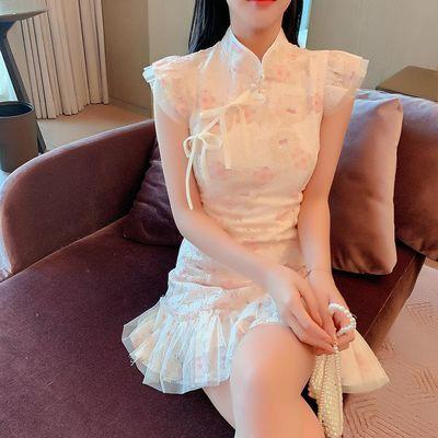 淑女气质女神范收腰显瘦旗袍改良连衣裙女2020年新款夏季鱼尾短裙