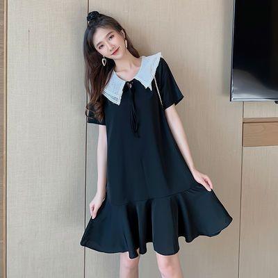 夏季新款韩版显瘦遮肉娃娃领荷叶边短袖连衣裙子胖mm宽松大码女装
