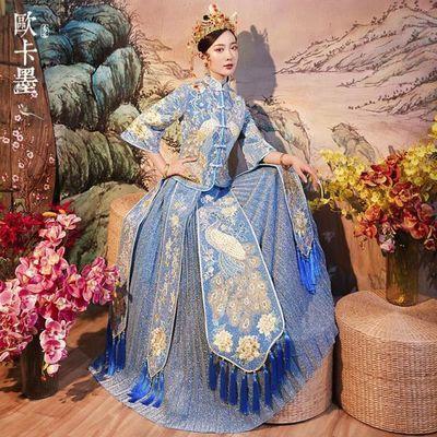 秀禾服新娘浅蓝色结婚中式婚纱礼服敬酒服修身显瘦龙凤褂秀和服女