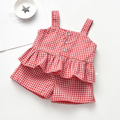 2020新款精品儿童套装女夏季韩版格子新款宝宝时髦20两件套小童短