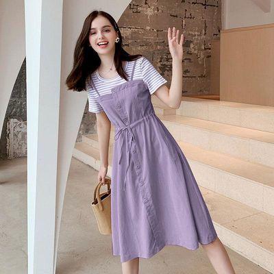胖妹妹大码女装夏季新款假两件连衣裙胖MM中长款休闲收腰显瘦裙子