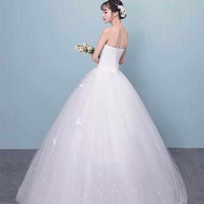 主婚纱礼服新娘2019新款公主抹胸简约显瘦齐地梦幻小个子女轻婚纱