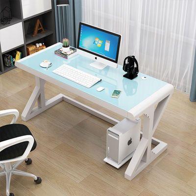 电脑台式桌家用 简约现代经济型书桌 简易钢化玻璃电脑桌学习桌子