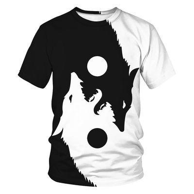 阴阳太极t恤男短袖潮个性动物狼图案印花潮流宽松大码 青少年半袖