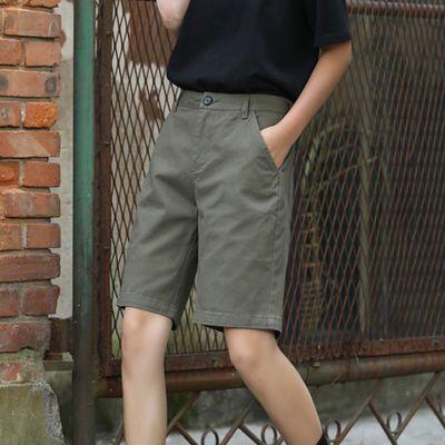 卡其色短裤女宽松五分工装裤女休闲运动中裤女潮胖mm直筒阔腿bf风