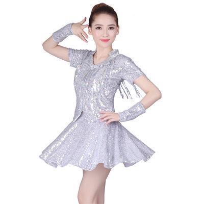 广场舞服装新款套装女成人2018夏裙现代舞亮片演出服爵士舞舞蹈服