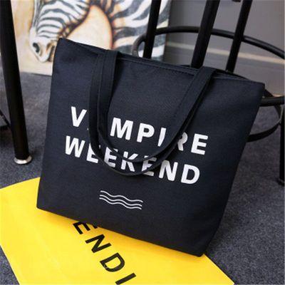 韩版帆布牛津包文艺女包单肩简约休闲学生大容量手提袋购物袋大包