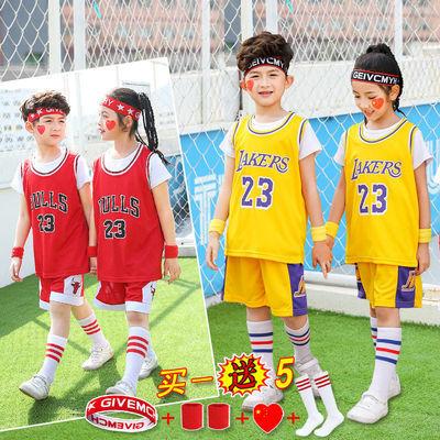 儿童篮球服男女童套装夏季科比库里欧文哈登球衣假两件训练服定制
