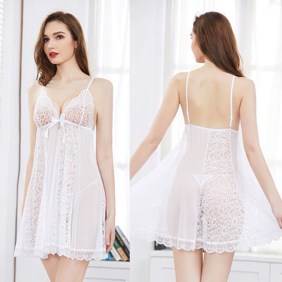 性感睡衣网纱诱惑清新吊带睡裙蕾丝公主风欧版宽松薄款美背家居服