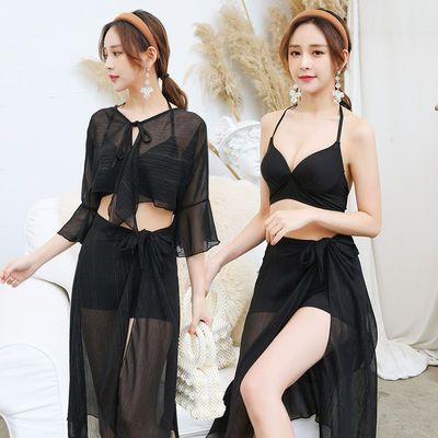 新款韩版游泳衣女学生分体四件套显瘦遮肚超仙性感长袖泡温泉泳装