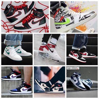 aj男鞋aj1女鞋高帮鞋AJ1篮球鞋aj1倒钩影子灰aj蒂芙尼户外休闲鞋